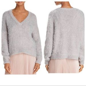 BELTAINE Fuzzy Knit V-Neck Slouch Pullover Sweater